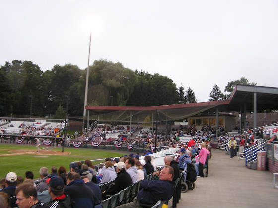 The 3rd base stands at Falcon Park, Auburn NY