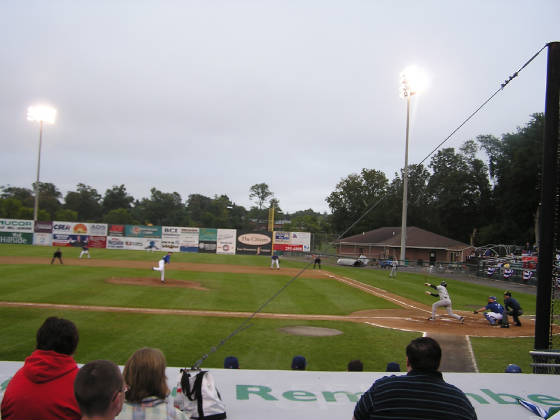 Looking down the 1st base line - Falcon Park, NY